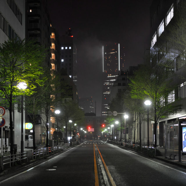 Japan's tallest building (Landmark Tower) is seen through the light fog of portside Bashamichi neighborhood | Yokohama, Japan