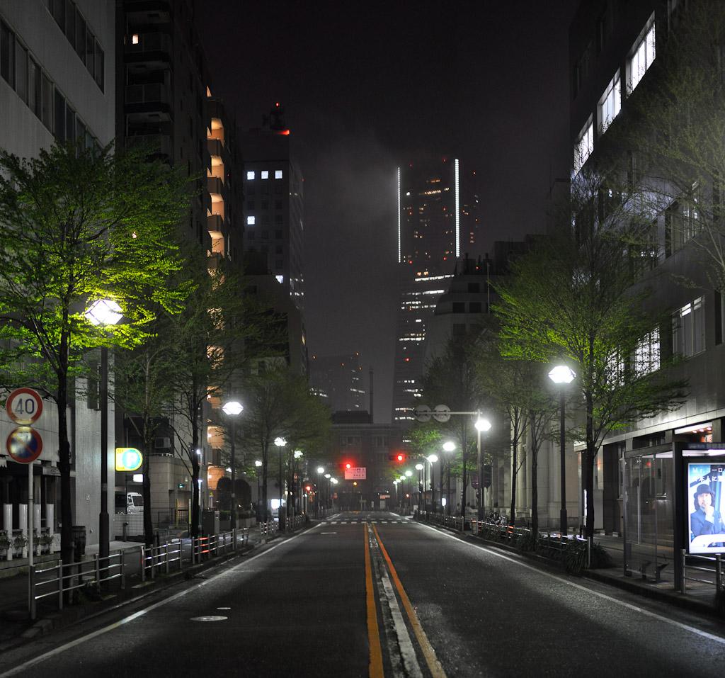 Japan's tallest building (Landmark Tower) is seen through the light fog of portside Bashamichi neighborhood | Yokohama, Japan