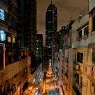 One of Central's hot spots for dining and bars, seen from a pedestrian crossing | Hong Kong, SAR, China