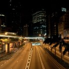 Usually filled with taxis and town cars, the main roadway through Central district is empty in the hours before dawn | Hong Kong, SAR, China