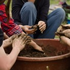 "Making Fukuoka style ""seed bombs"" at Dumulmeori Farm (photo: Patrick Lydon)"