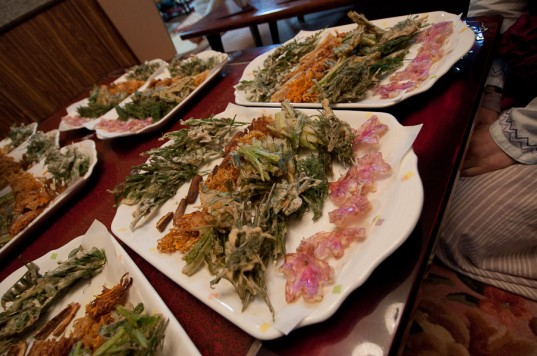 Tempura veggies and wild plants (including flowers) at Akame Natural Farm School, Japan
