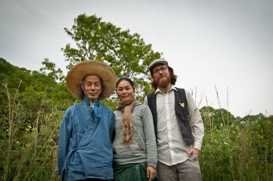 Photo op with interpreter Kaori and Mr. Kawaguchi at Akame Natural Farm School, Japan