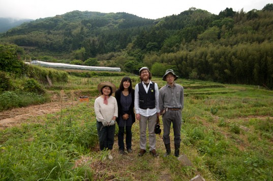 The crew and farmers Murakame's farm in Itoshima, Japan