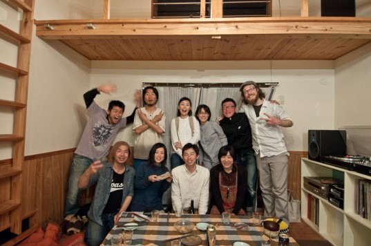The dinner guests at Murakame and Shinnosuke's farmer/chef co-op restaurant in Itoshima, Japan