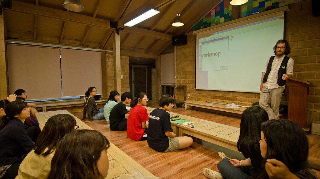 Photography, Art, and Social Activism lecture at Sanmaeul High School (photo: Suhee Kang)