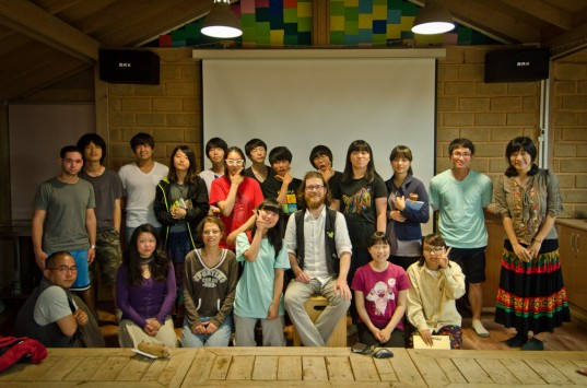 Patrick and Suhee with students and staff at Sanmaeul High School (photo: Principal Young-So Yun)