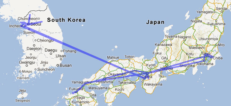 JapanKorea Travel Map Patrick M Lydon - Japan map korea