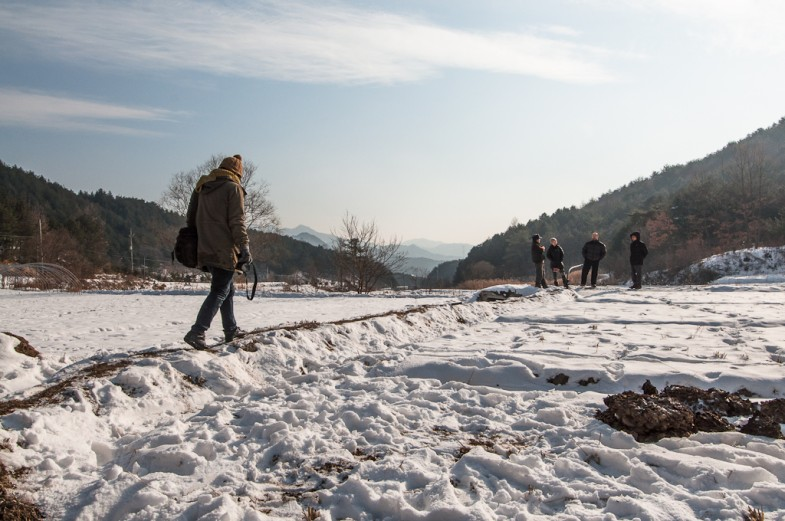 Winter walk at Seonghyun Choi's (최성현) natural farm, Hongcheon, South Korea (2013, P.M. Lydon)