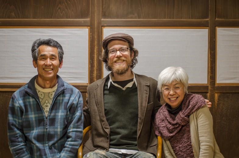 Patrick with Osamu Yoshino and Keiko Domae in Chiba Prefecture, Japan