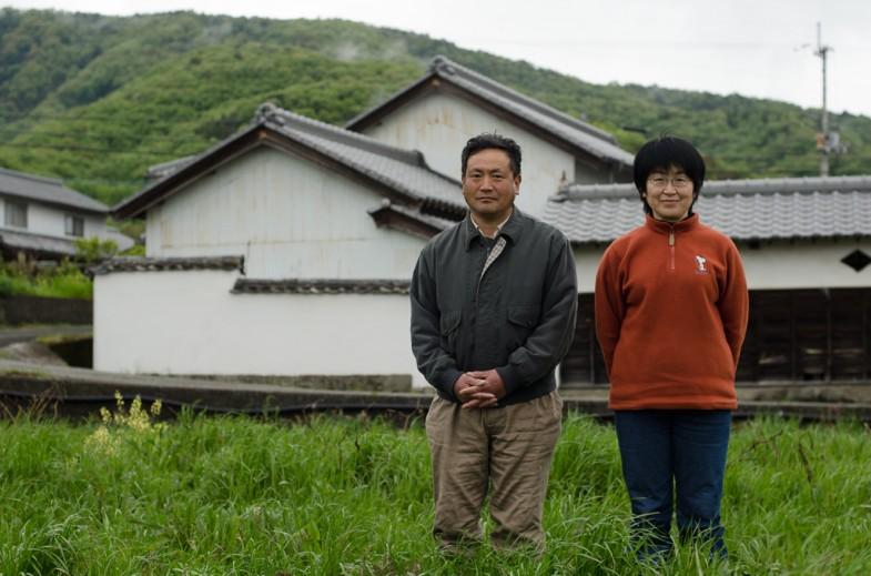 Okitsu-san and his wife at their natural farm in Awa, Shikoku.