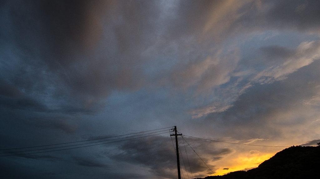 Utility pole and sunset on Megijima.