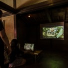 Gallery visitors interact with the [HUMAN:NATURE] artwork at MEGI House
