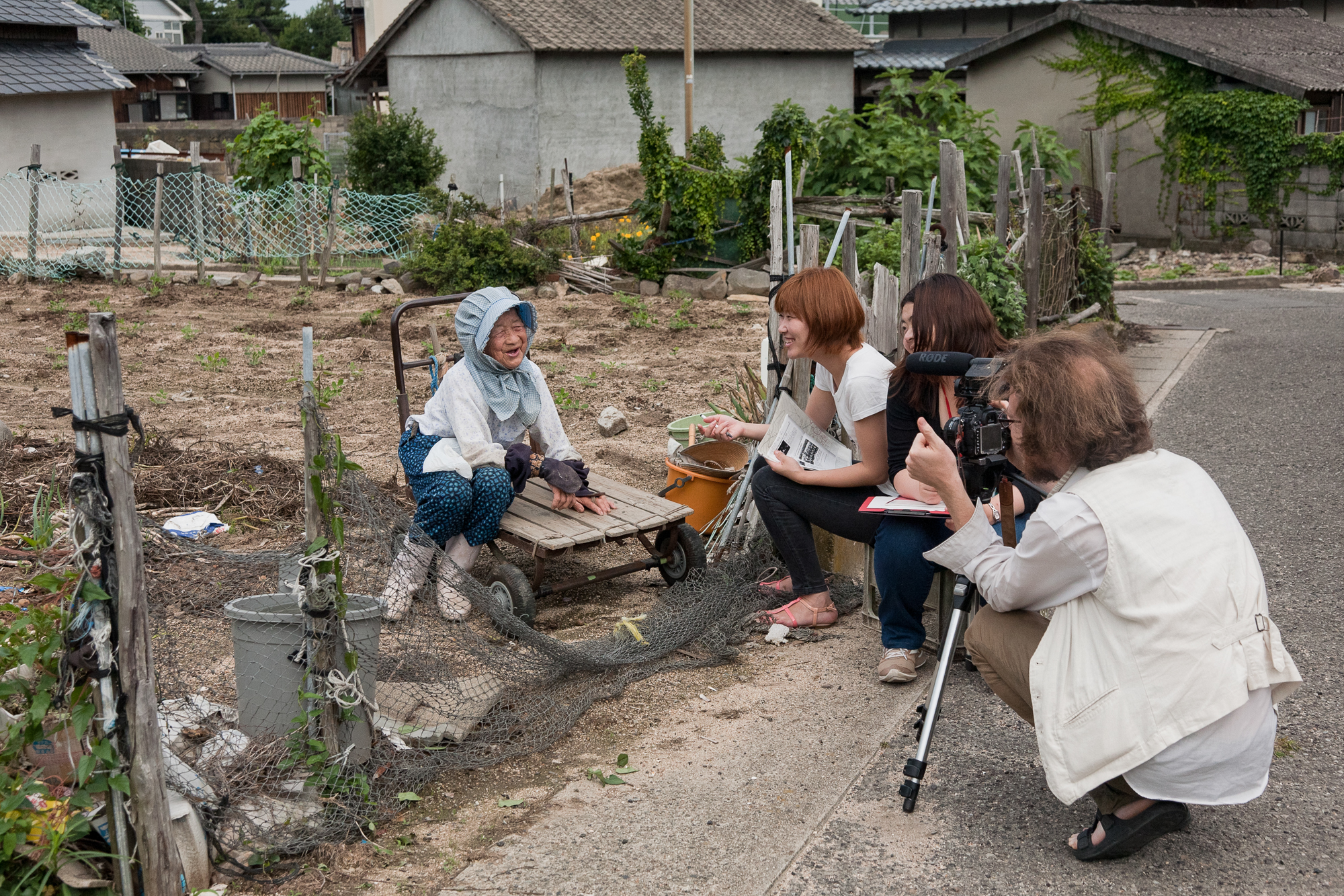 Interviewing Natsue Okada, who at 90-years old is one of Megijima's oldest farmers.