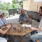 Patrick Lydon speaking with members of the Megijima town leadership