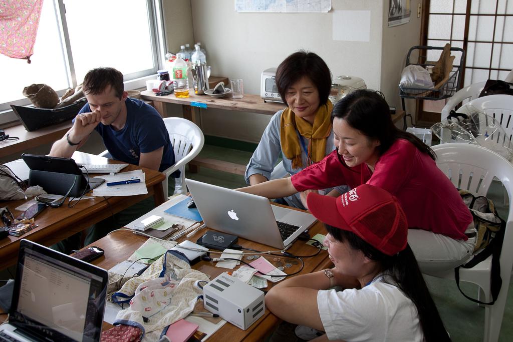 Johann and two Koebi volunteers on Megijima (photo: Suhee Kang)