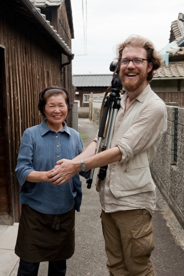 Patrick thanking one of the interviewees on Megijima