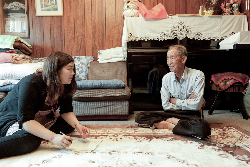 Interviewing another of the long time residents on Megijima