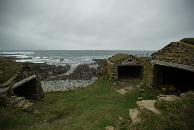 Old 'fishing huts' in Orkney, Scotland