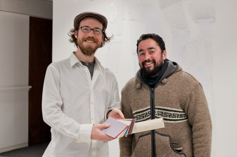 Sunil from Paper Stuff in Edinburgh visits the studio to donate some handmade paper.