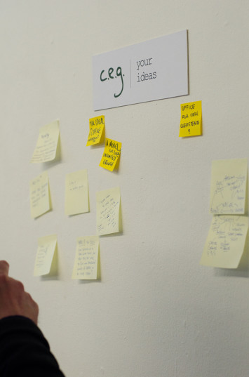 The 'Centre for Endless Growth' visitor idea board in TENT Gallery, Edinburgh