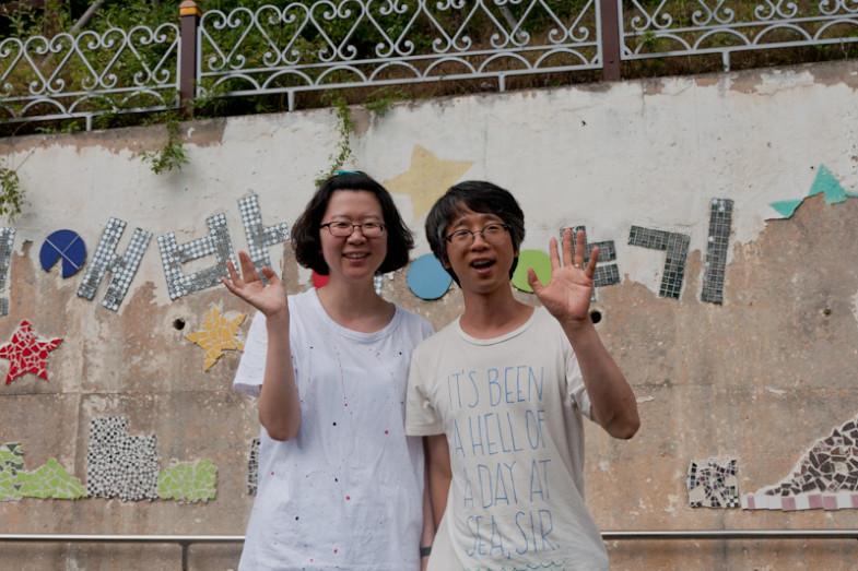 Booyoung Song (ant) and Eunduk Seo (accordion musician) who run the residency program (CC BY-SA, Suhee Kang)
