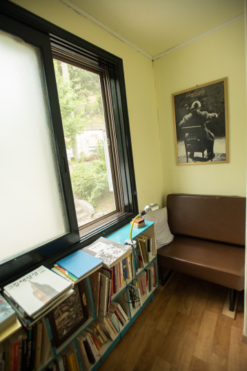 A window seat in the Small House library