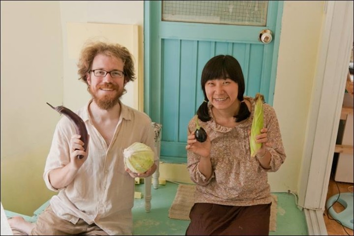 Patrick and Suhee with some natural veggies