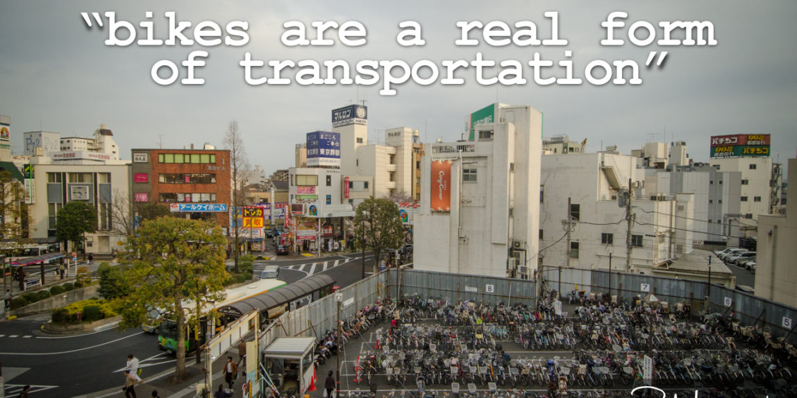 Bikes are a real form of transportation (image and words by P.M. Lydon | CC BY-SA)