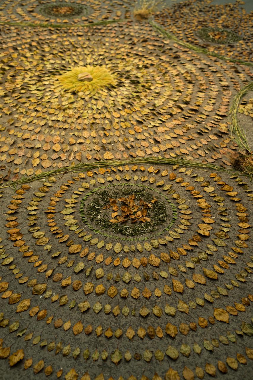 Closeup of the 'Osakako Mandala' installation at Contemporary Art Space Osaka, Japan
