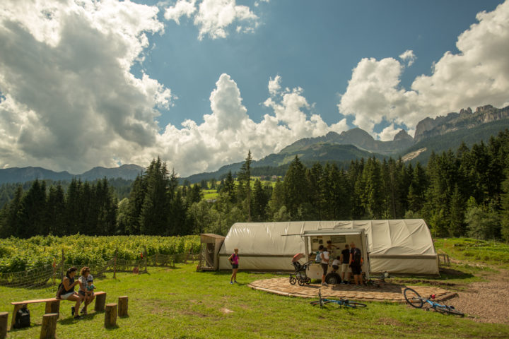 Stephanie's fresh food stand at their family biodynamic farm in Val di Fassa, Italy