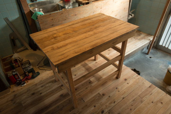A basically finished (not yet oiled) table at The Branch in Osaka, Japan
