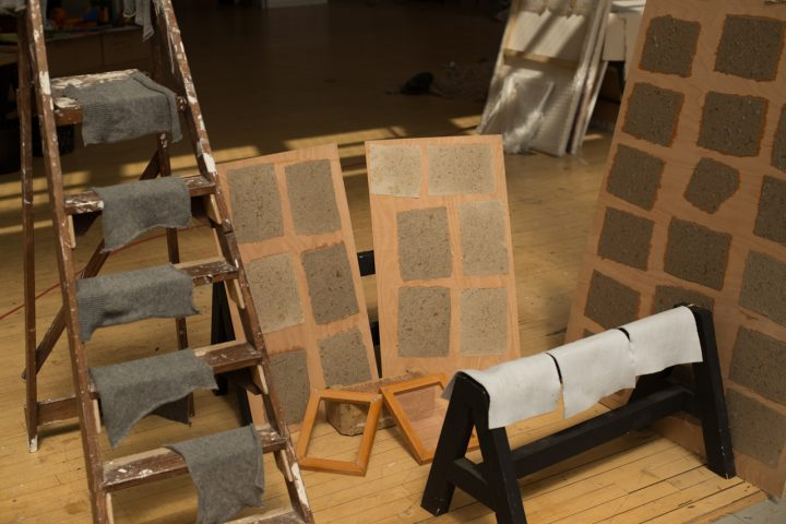 Handmade recycled paper samples exhibited during the Robert Callender International Residency for Young Artists in Kinghorn, Scotland